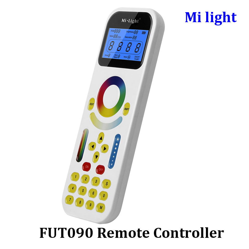BSOD Milight LED Remote Controller FUT090 RGB CCT Dimmer with LCD Screen Touch Panel for Track Light Distance 30m max 2 Battery