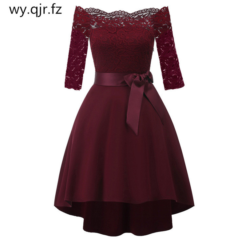 CD1613#Burgundy Lace Bow Boat Neck Short   Bridesmaid     Dresses   Wedding Party   Dress   Gown Prom Chepa Wholesale women tail coats