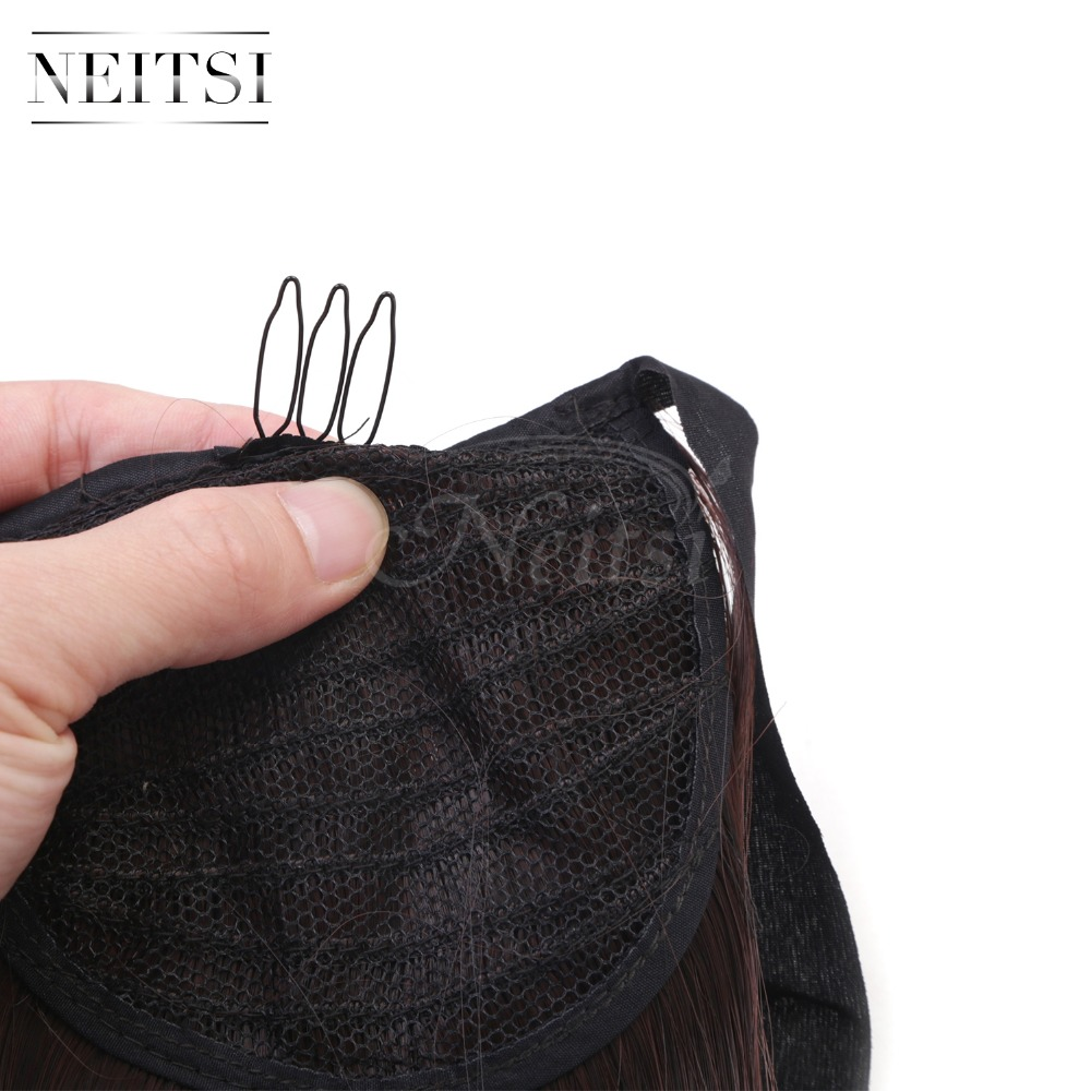 Купить с кэшбэком Neitsi Straight Long Clip In Hair Tail False Hair Ponytail Hairpiece With Hairpins Synthetic Hair M2-33#