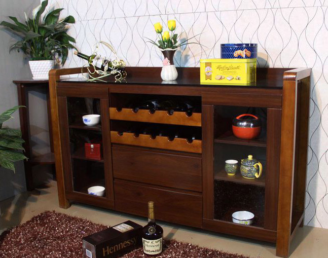 149 M Glass Sideboard Wood Frame Living Room Cabinet Tea Style Upscale Generous Red Wine