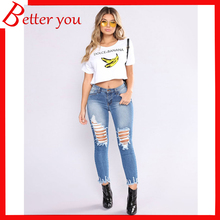 Europe spring summer women pants hole ripped skinny middle waist jeans fashion slim pencil