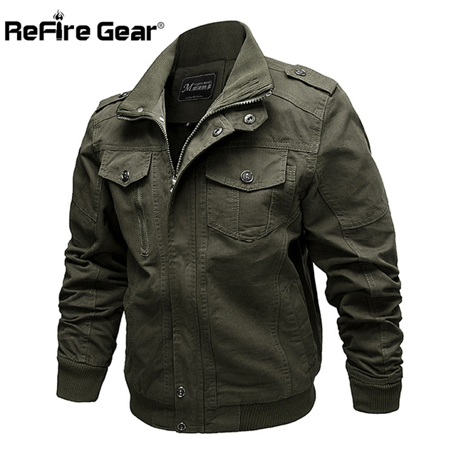 ReFire Gear Spring Air Force Pilot Military Jacket Men Cargo Tactical Bomber Jacket Male Casual Zipper Flight Cotton Coat Jacket