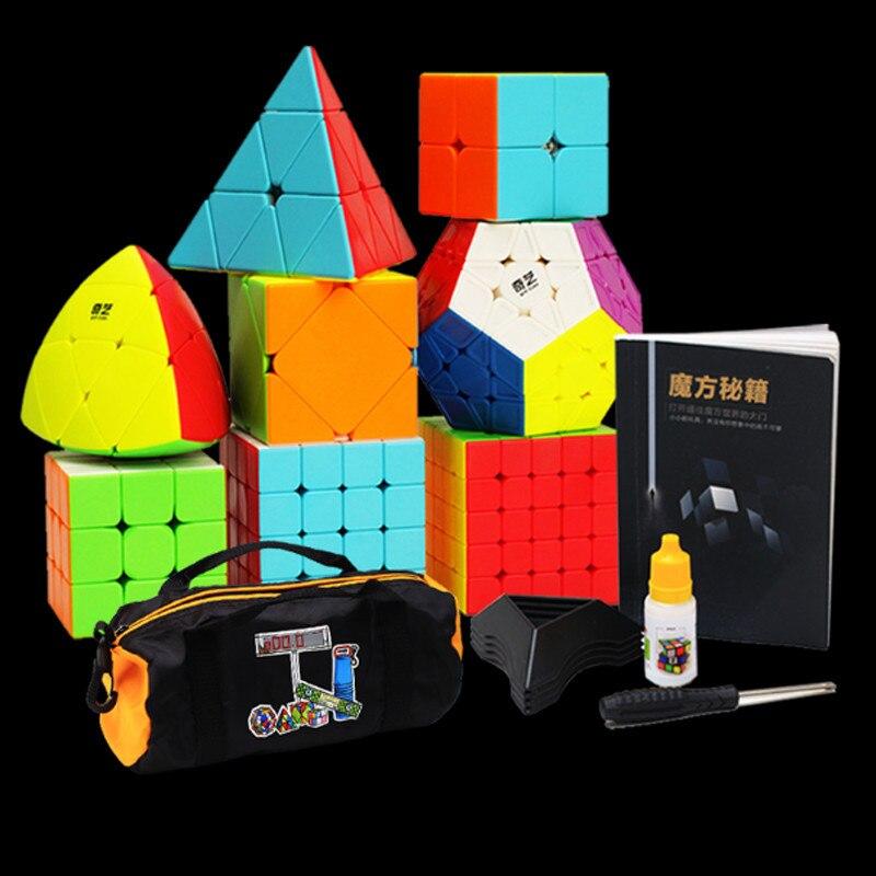 Nouveau 8 pièces ensemble/sérieux vitesse Puzzle Cube 2x2x2 3x3x3 4x4x4 5x5x5 plastique lumineux Megaminx Magico Cubo vitesse riz boulette Cube