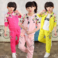 Girls Sports Suits Floral Print Coat + Pants Clothing Sets For Girls Spring 2017 Kids Outfits Tracksuits 4 5 6 7 8 9 10 11 12
