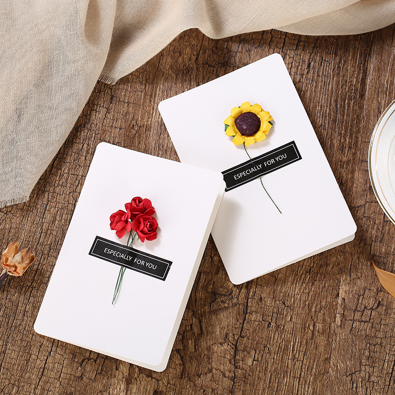 Us 0 47 27 Off Dried Flower Invitation Card Creative Handmade Diy Mother S Day Greeting Card Valentine S Day 520 Message Card Birthday Card In Cards