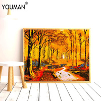 2019 New Year Merry Christmas Decorations Frameless Poster for Home Oil Painting Landscape Picture Canvas Hand Embroidery Poster