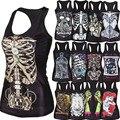 Novo 2015 camisa das mulheres Pintura Padrão Legal Camisole Sexy impressão osso Do Crânio 3D Tanques Vest Tops transporte da gota