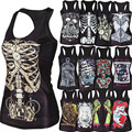 new 2015 women shirt Painting Cool Pattern 3D Skull bone Camisole Sexy print Vest Tanks Tops Drop shipping