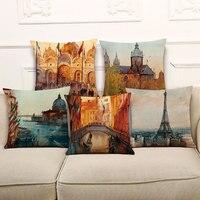Yeni Avrupa Vintage Yastık Kapak Için Renkli Paris Yağlıboya Yastıkları Kanepe Koltuk Lüks Ev Dekor 45*45 cm/17.7*17.7 ''