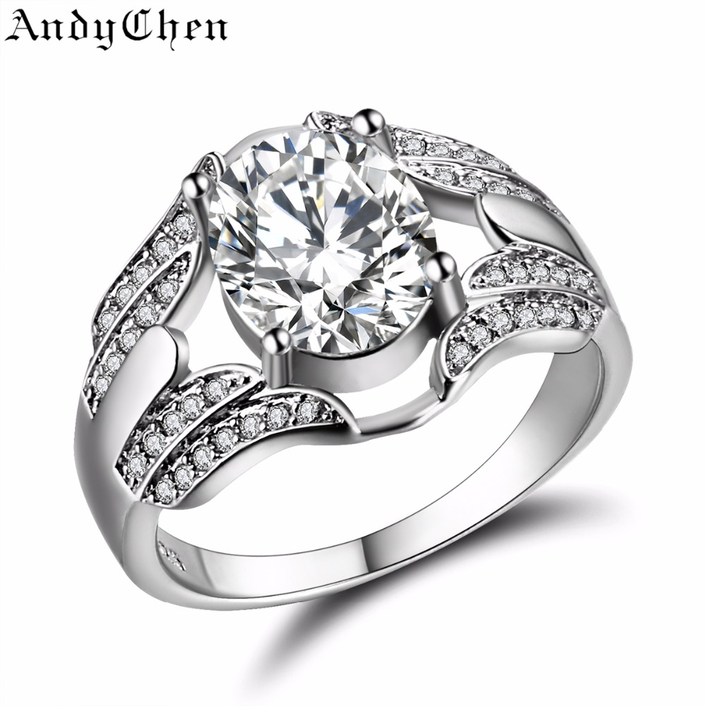 andychen oval wedding rings for women silver plated crystal jewelry luxury engagement bague bijoux femme size - Oval Wedding Ring