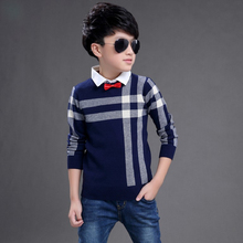 New 2016 Baby Boy Sweaters Stripe Plaid Pattern Kid Turn-down Collar Sweater With Bow Tie Spring Autumn Children Knitted Clothes