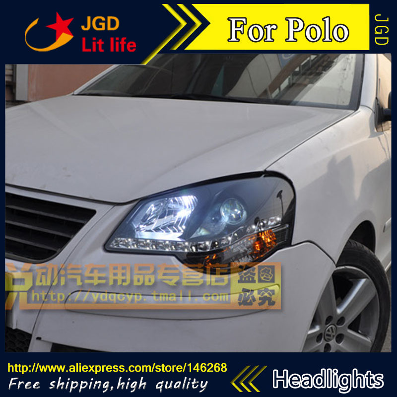 Free shipping ! Car styling LED HID Rio LED headlights Head Lamp case for VW Polo Bi-Xenon Lens low beam