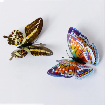 Stickers Butterflies Luminous Wall Decor Living Bedroom Home 12pcslot Colorful Double Layer Room 3D #1