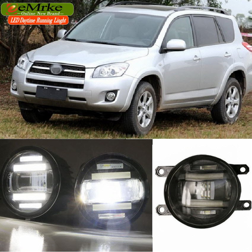 eeMrke Xenon White High Power 2in1 LED DRL Projector Fog Lamp With Lens For Toyota RAV4 2009 2010 2011