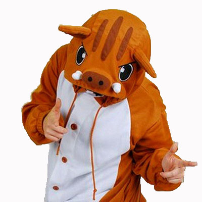 2019 Fashion Animal Onesie Soft Breathable Comfortable Pajamas Kugurumi Cute Wild Boar Cosplay Costume Halloween Party Funny