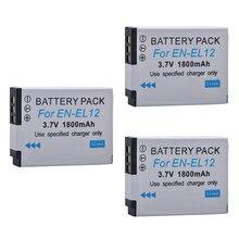 Tectra 3 pièces EN-EL12 EN EL12 ENEL12 Li-ion Caméra Bateria pour Nikon Coolpix S9700 S9500 S9400 S9300 S9100 S8200 S8100 S8000