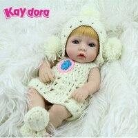 KAYDORA 10 inch 28cm Full Silicone Reborn Baby Dolls Alive Lifelike Mini Blonde Wig Real Dolls Realistic Reborn Babies Girl Toys