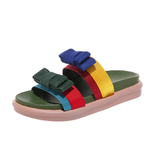 купить Summer Hot Sale Women Flip Flops Fashion Solid Color Bow tie Flat  slippers Wedge Heel Beach Open Peep Toe Sandals Slippers по цене 1204.43 рублей