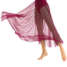 85cm Long Single Layer Ballet Skirt Burgundy Red Mesh Adults Ballerina Swan Lake Dance Elastic Waist See Through Tulle Skirts(China)