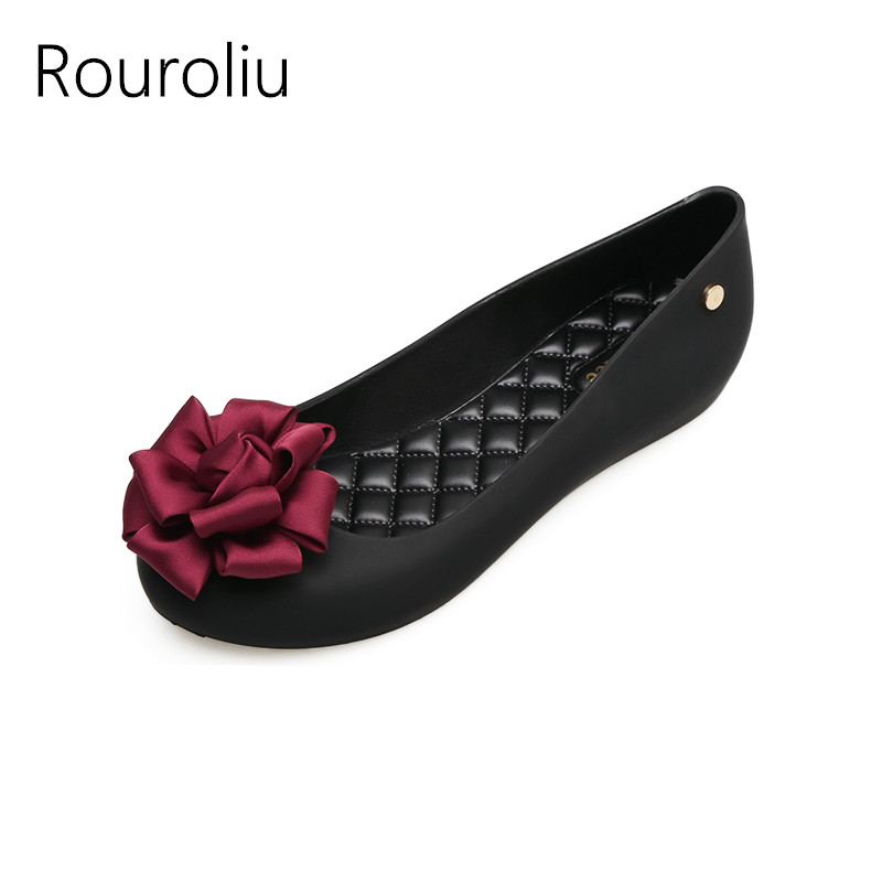 Rouroliu Women Summer New Fashion Cloth Flower Jelly Shoes Waterproof Non Slip Rain Shoes Casual Beach Shoes Woman RB42 in Ankle Boots from Shoes
