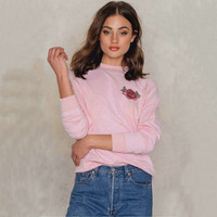 DoreenBow New Fashion Sexy Rose Embroidery Women Crop Top Autumn Floral Hoodies Long Sleeve Casual Hoody