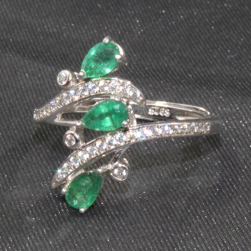 CoLife Jewelry Fashion Emerald Ring for Party 3 Pieces Natural Emerald Silver Ring Solid 925 Silver Emerald Jewelry Woman Gift