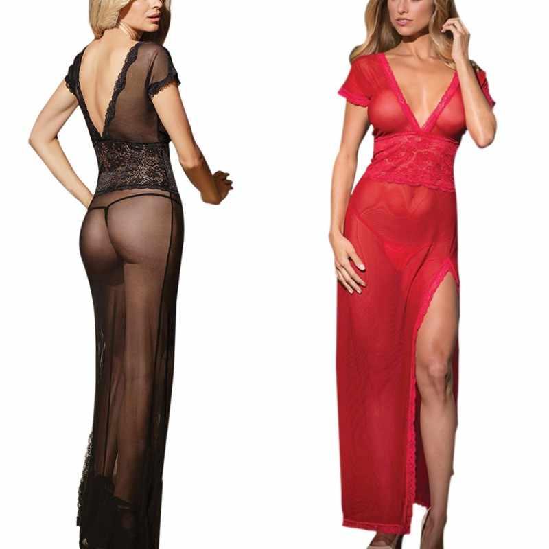 Сексуальное длинное вечернее платье Прозрачное платье вечерний халат ночная Пижама Женское нижнее белье Новинка