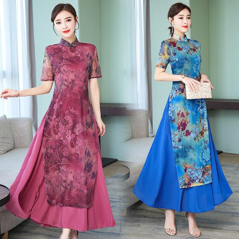 2019 Ao Dai Vietnam Vietnam Clothing Vietnam Traditional Dress Print Flower Aodai Vintage Cheongsam Novelty Formal Dress
