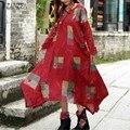 ZANZEA Женщины Осень Dress 2017 Дамы Винтаж Печати Длиной Макси Dress Случайные Свободные Длинным Рукавом Асимметричные Платья Vestidos