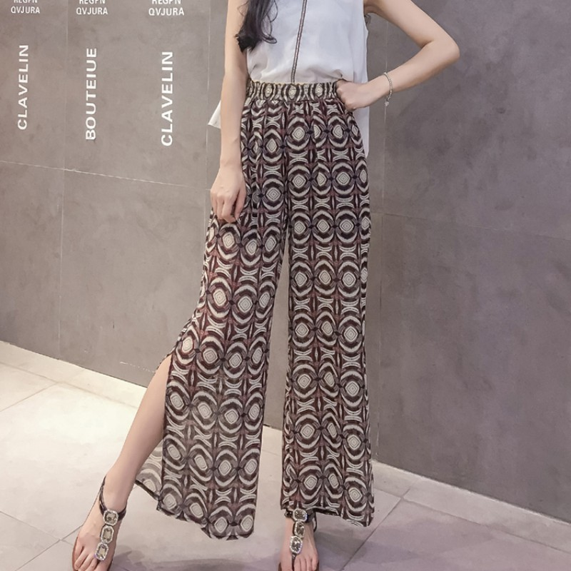 High Split Wide Leg   Pants   Women Summer Beach High Waist Trousers Chic Streetwear Sash Casual   Pants     Capris   Female