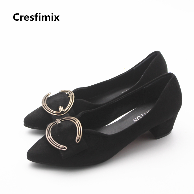 Cresfimix women casual 5cm high heel shoes with metal lady cute spring & summer slip on high heels female party night club pumps cresfimix women cute spring