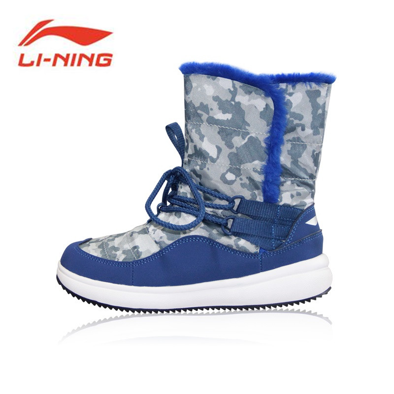 Li-Ning Kids' Sneakers Young Children Shoes Snow Boots Winter Warm Walking Shoes Kids Non-slip Boys and Girls Boots YKCM014
