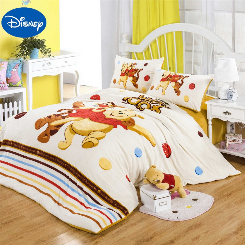 Winnie the pooh toddler bedding - Cartoon Winnie The Pooh Tigger Flannel Quilts Comforters Bedding Set Twin Full Queen Size Bedspread Girl Home Winter Warm Yellow