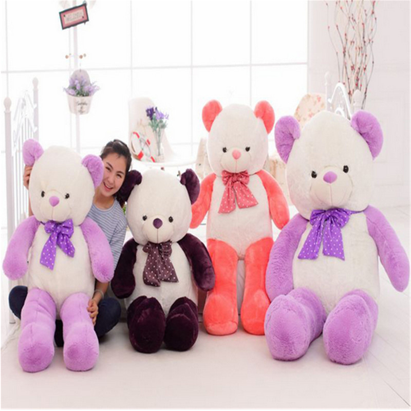 Fancytrader Giant Cute Teddy Bear with Bow Big Soft Stuffed Plush Bears 160cm 63inches Best Gift for Girlfriend and Children fancytrader new style giant plush stuffed kids toys lovely rubber duck 39 100cm yellow rubber duck free shipping ft90122