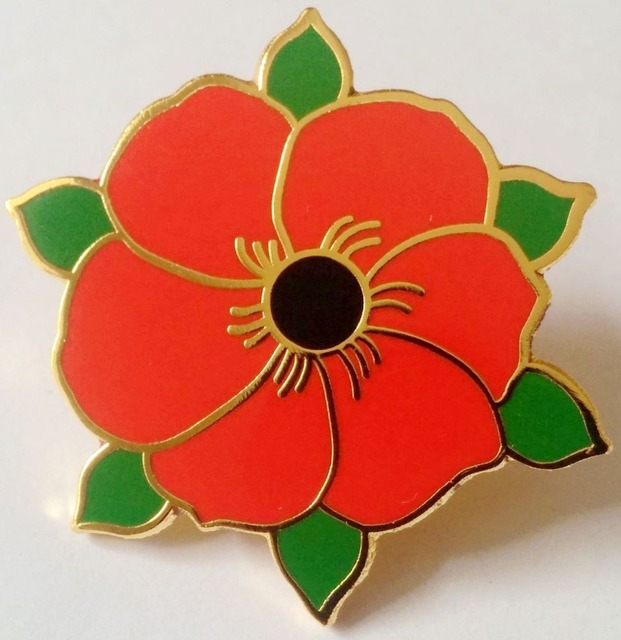 Free Shipping Red Flower Poppy Pin Badge Copper With Real Enamel