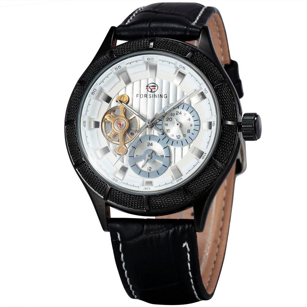 Men's Autoamtic Mechanical Wristwatches Tourbillon 24-hour Sub-dial Design WINNER Top Brand Luxury Men Watches Gifts + BOX