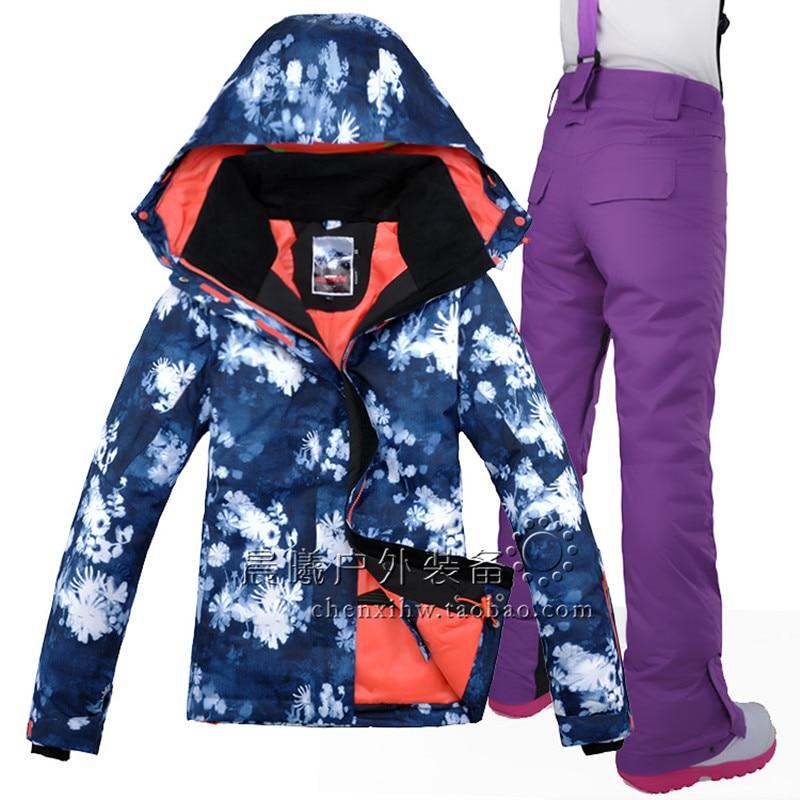 Prix pour Gsou snow femmes ski snowboard costume coupe-vent imperméable épaissir thermique femelle veste + pantalon sport en plein air porter nouveau style ensemble