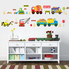 Cartoon Vehicle Traffic Cars Buses Wall Stickers for Kids Room Living Room Kindergarten Baby Nursery Home Decoration Waterproof(China)
