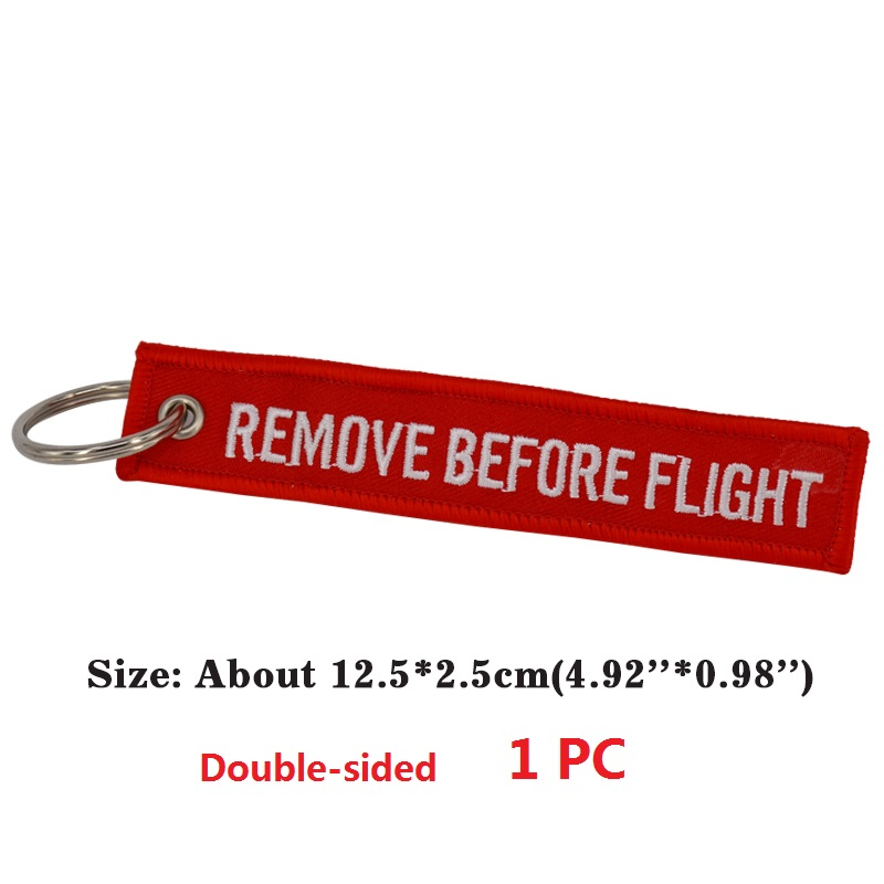 Remove Before Flight Key Chain Chaveiro Red Embroidery Keychain Ring for Aviation Gifts OEM Key Ring Jewelry Luggage Tag Key Fob002