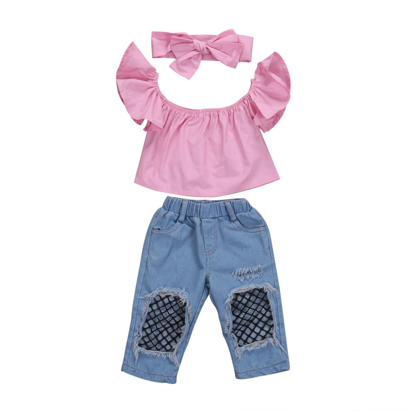 Toddler Baby Girls Kids Cotton Off Shoulder Blouse Tops Denim Fishnet Jeans Pants Headband 3Pcs Outfits Set Clothes Sunsuit 1-6T