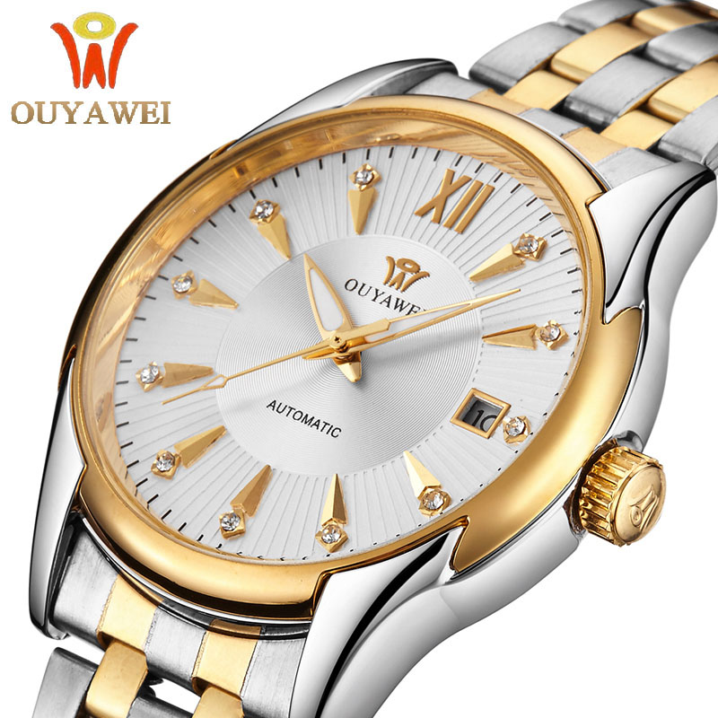 OUYAWEI Gold Men Skeleton Mechanical Watch  mens automatic watch  Steel strap Transparent Steampunk Montre Homme Wristwatch read men skeleton mechanical watch stainless steel hand wind watches for men transparent steampunk montre homme wristwatch pr129