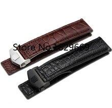 Bien inmueble de cuero de cocodrilo correas de reloj 20mm 22mm blelack brown venda de reloj de cuero correa de reloj de cuero