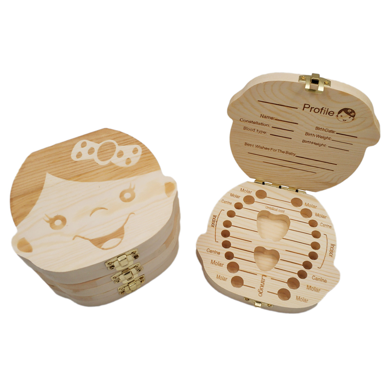 2019 Baby Milk Teeth Box Spanish/English Baby Wooden Tooth Box Baby Tooth Organizer For Kids Deciduous Storage Box Gift Creative