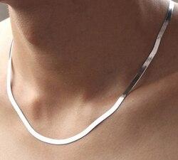 Anenjery-collier unisexe couleur argent, à maillons plats serpent, avec chaîne à fermoir à homard, pour femmes et hommes, S-N21