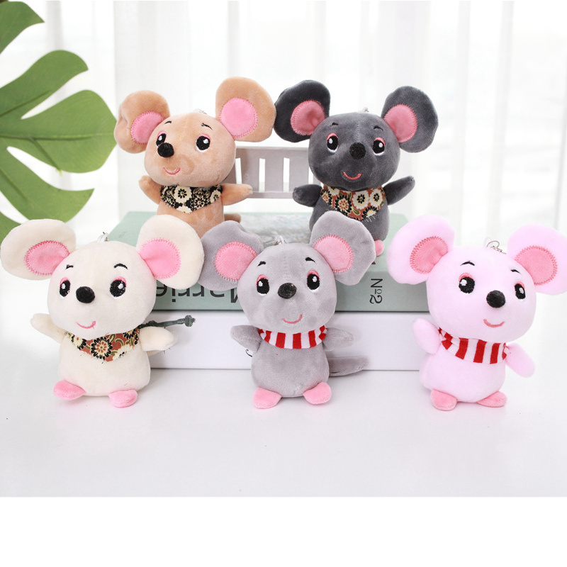 12cm Baby Kids Kawaii Cute Soft Plush Cartoon Animal Small Mouse KeyChain Toy Doll Pendant Stuffed Hamster Toy