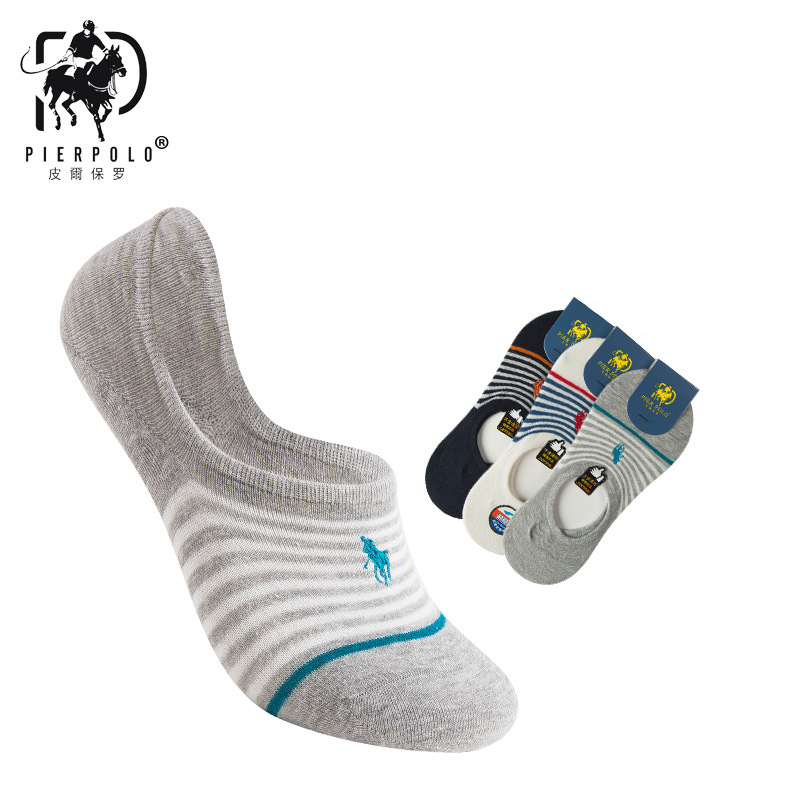 2019 PIER POLO New Cotton   Socks   Men Of Deodorant Men's Stealth Shallow Mouth   Sock   Stripe embroidery 3 pairs sexy short   socks   men