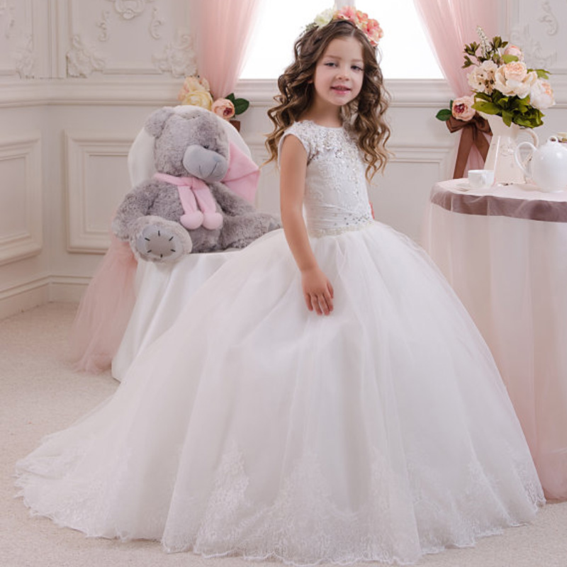 8a4d00572f9 2017 New Ball Gown Cap Sleeve White Lace Flower Girl Dresses First  Communion Dresses For Girls vestidos de primera comunion