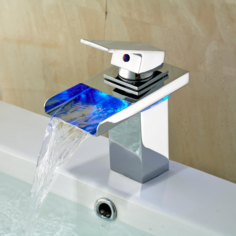 LED Waterfall Spout Kitchen Basin Faucet Sink Mixer Tap Chrome Finish