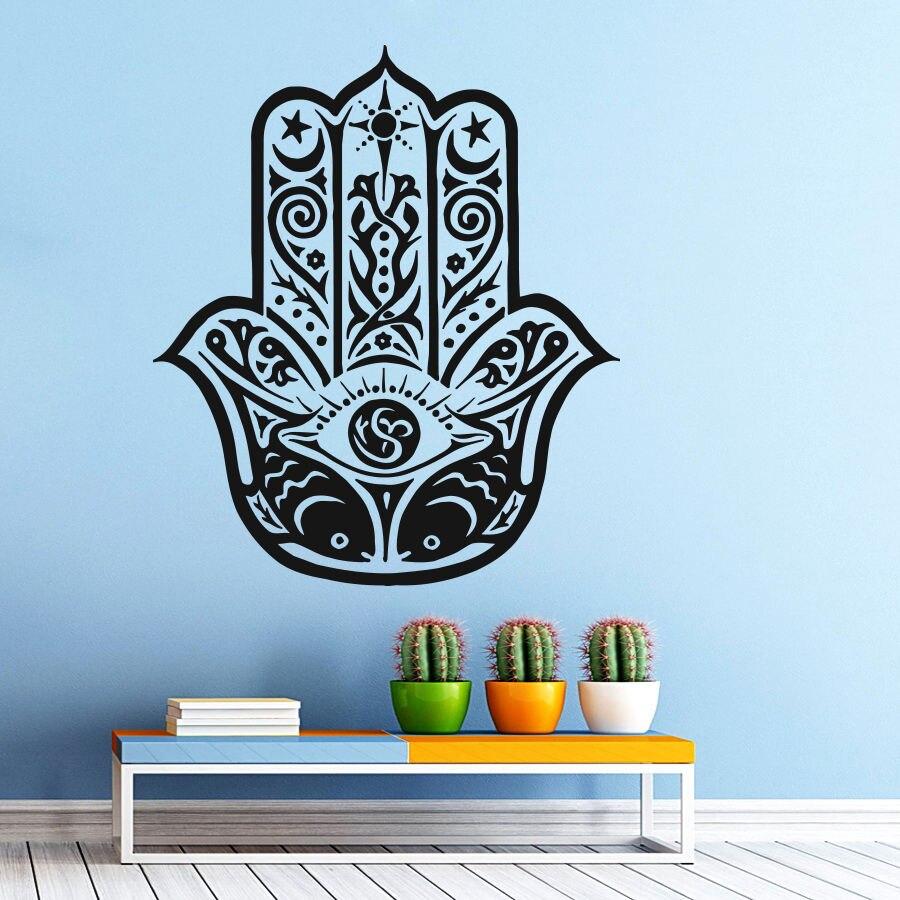 57x80 Art Home Wall Stickers Vinyl Decals Yoga Fatima Hand Hamsa Buddha Mural Nakleyka Na Stenu Wall Decal Bedroom Sticker Y 113 in Wall Stickers from Home Garden