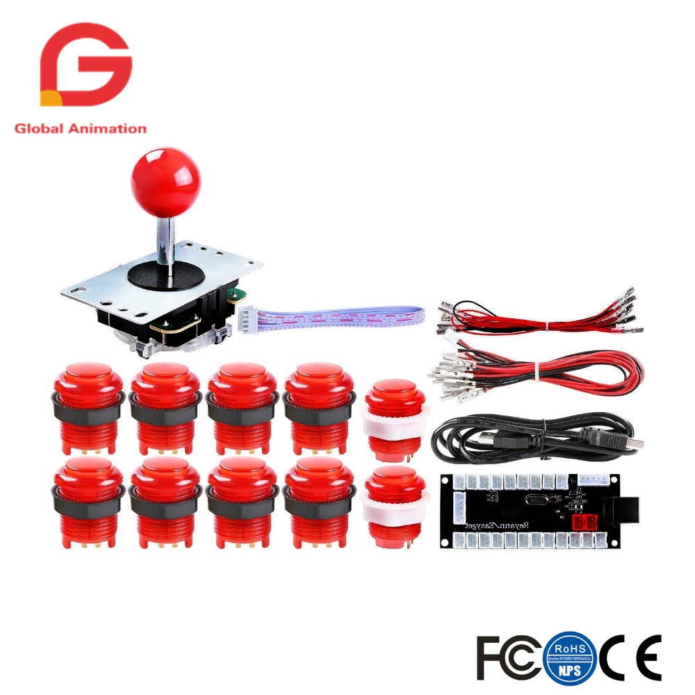 1Player LED Arcade Kit For USB MAME PC Game Raspberry Pi Controller DIY Zero Delay USB Encoder Arcade Joystick And Push Button in Coin Operated Games from Sports Entertainment